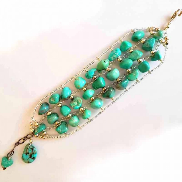 A Time of Turquoise (Multi strand turquoise and sterling bracelet)