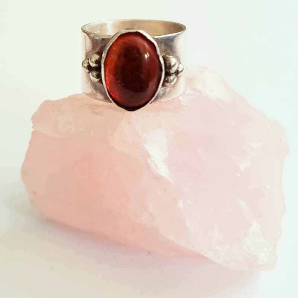 Amber Transcendance (Sterling silver and amber ring, Size 8)