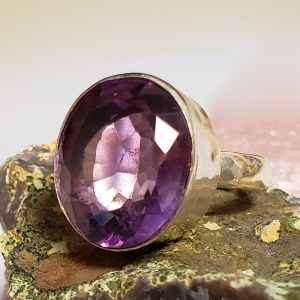 Amethyst Visions(Sterling silver and amethyst ring, Size 7)