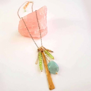 Charm Necklace in Amazonite and Lime