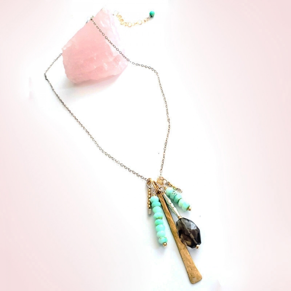 Charm Necklace in Smoky and Opal