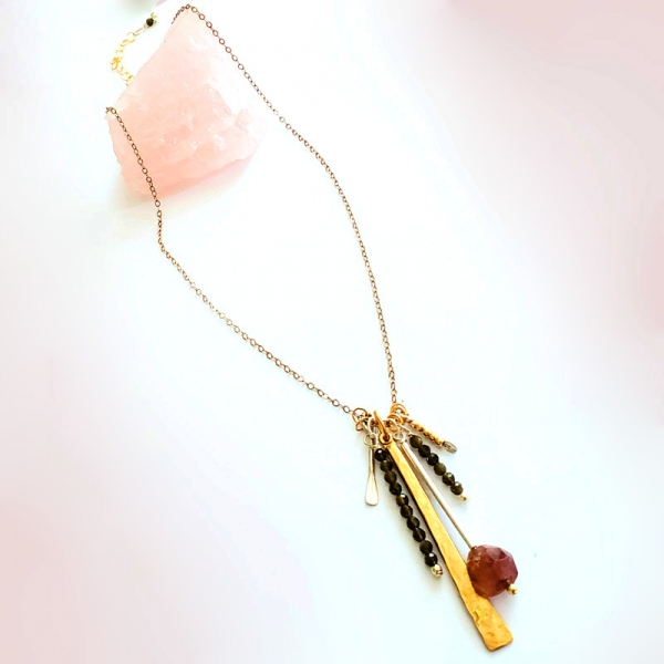 Charm Necklace  in Watermelon Tourmaline