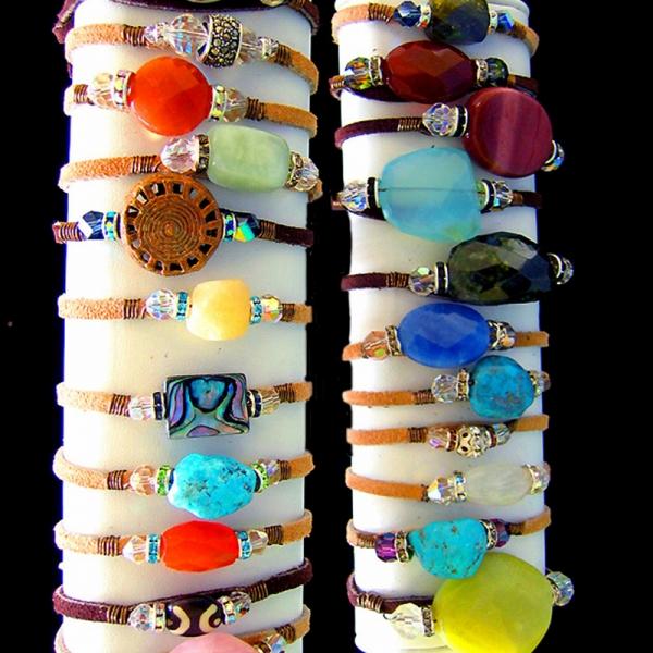 Lady Leather (Gemstone Leather Bracelet)