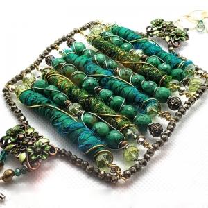 Manifestation of Magic and Miracles (Green Heart Chakra Bracelet with luxurious saree fabric and illuminating gemstones)