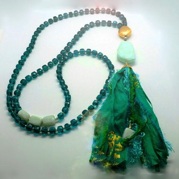 Manifestation of Magic and Miracles Heart Chakra Mala (Teal and Mint Green)
