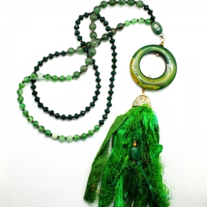 Manifestation of Magic and Miracles Heart Mala (Forest Green)