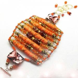 Manifestation of Magic and Miracles (Sacral Chakra Bracelet with luxurious saree fabric and illuminating gemstones)