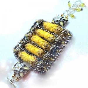 Manifestation of Magic and Miracles (Solar Plexus Chakra Bracelet with luxurious saree fabric and illuminating gemstones)