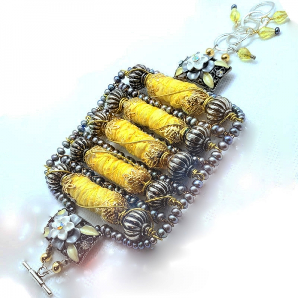 Manifestation of Magic and Miracles (Solar Plexus Chakra Bracelet with luxurious saree fabric and illuminating gemstones)