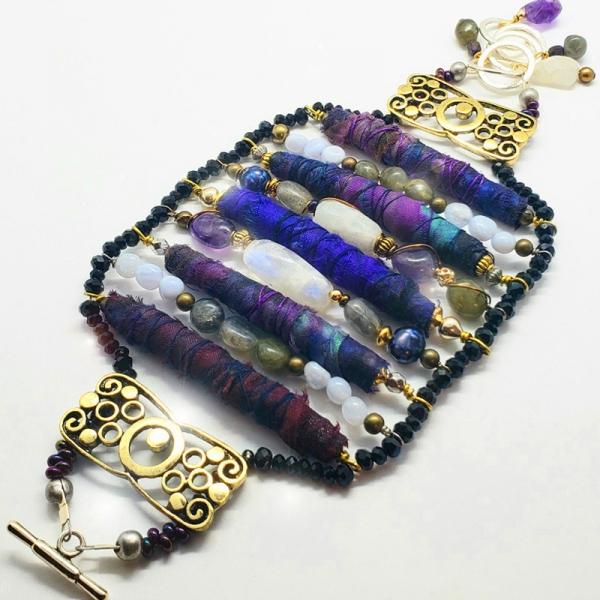 Manifestation of Magic and Miracles (Third Eye Chakra Bracelet with luxurious saree fabric and illuminating gemstones)
