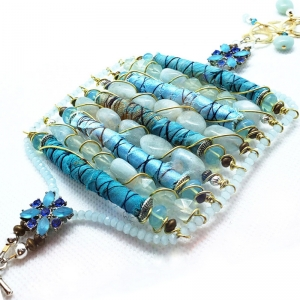 Manifestation of Magic and Miracles (Throat Chakra Bracelet with luxurious saree fabric and illuminating gemstones)