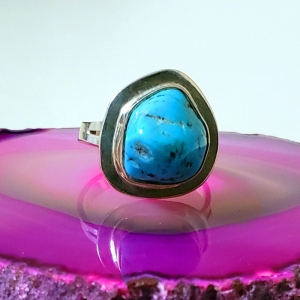 Mountain Sky (Turquoise and sterling silver ring, Size 6)