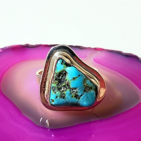 Mountain Song (Turquoise and sterling silver ring, Size 6.5)