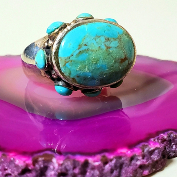 Protected (Turquoise and sterling silver ring, Size 8)