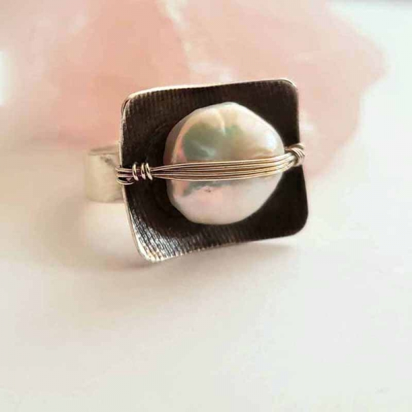 Sagewoman (Sterling silver and pearl ring, Size 7)