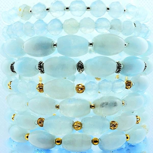 Stackables in Aqua (Single strand bracelets)